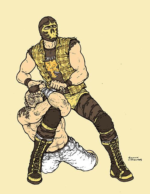 Mortal Kombat's Scorpion applies a Scorpion Armlock.