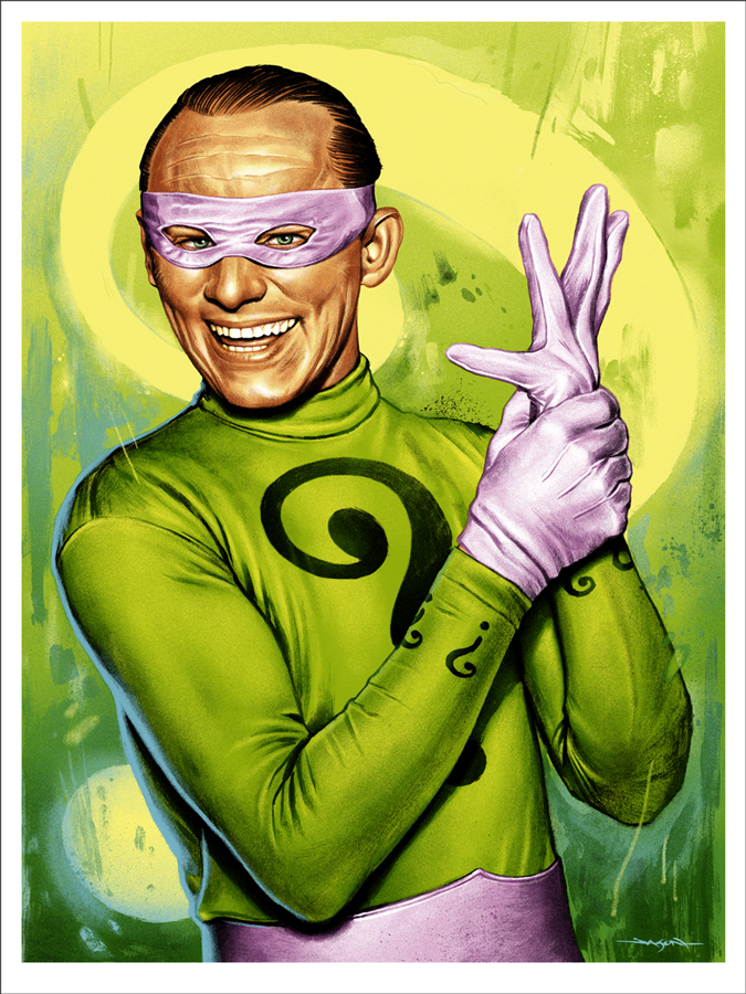 "The Riddler by Jason Edmiston. 18""x24"" screen print. Hand numbered. Edition of 200. Printed by D&L Screenprinting. $45"