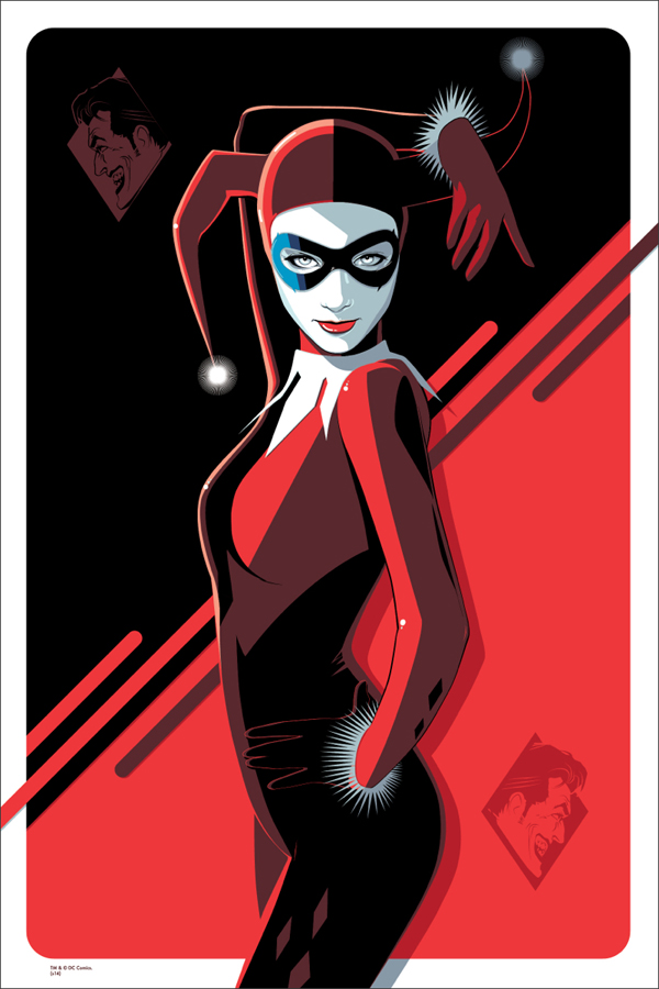 "Harley Quinn by Craig Drake. 24""x36"" screen print. Hand numbered. Edition of 225. Printed by D&L Screenprinting. $50"