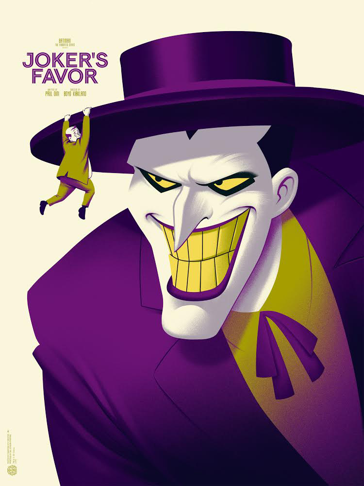 "Joker's Favor by Phantom City Creative. 18""x24"" screen print. Hand Numbered. Edition of 175. Printed by D&L Screenprinting. $45"