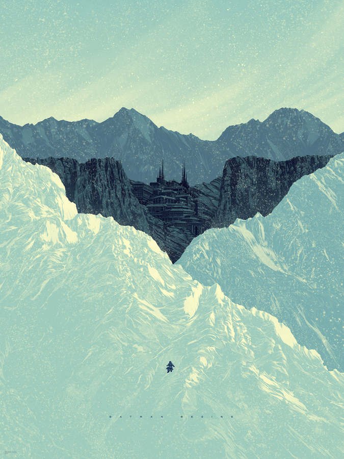 "Batman Begins by Kevin Tong. 18""x24"" screen print. Hand Numbered. Edition of 275. Printed by D&L Screenprinting. $45"