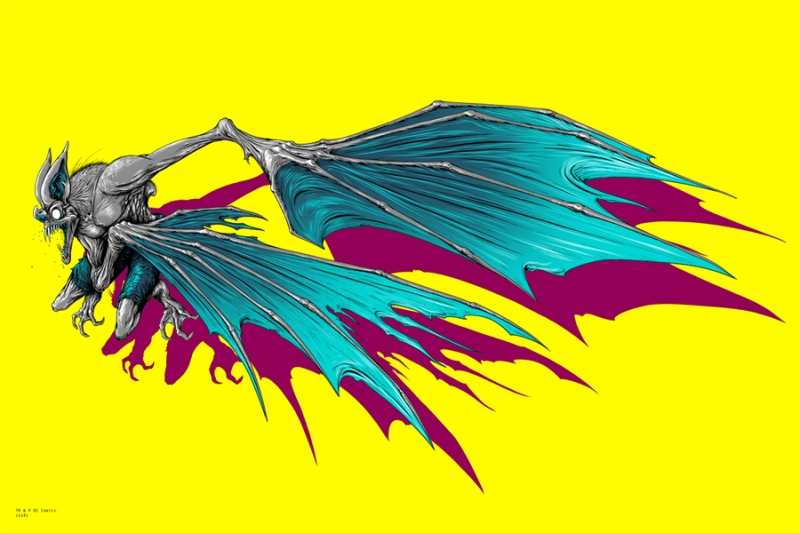 "Batman / Man Bat by Alex Pardee. 24""x36"" screen print. Hand Numbered. Edition of 200. Printed by D&L Screenprinting. $80 / set"