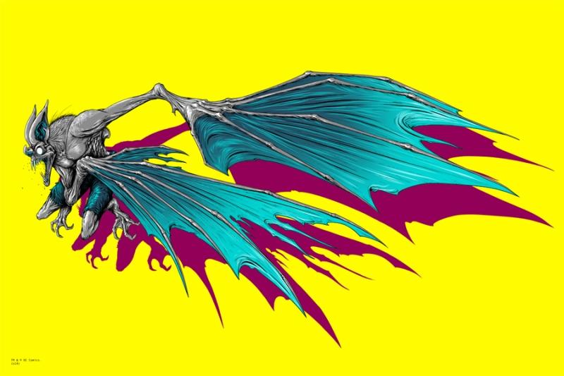 "Batman / Man Bat by Alex Pardee. 24""x36"" screen print. Hand Numbered. Edition of 200. Printed by D&L Screenprinting. $80 / set"