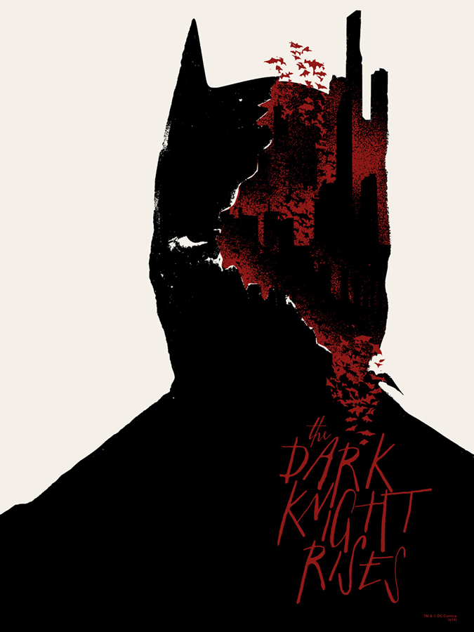 "The Dark Knight Rises by Jay Shaw. 18""x24"" screen print. Hand Numbered. Edition of 100. Printed by Seizure Palace. $40"