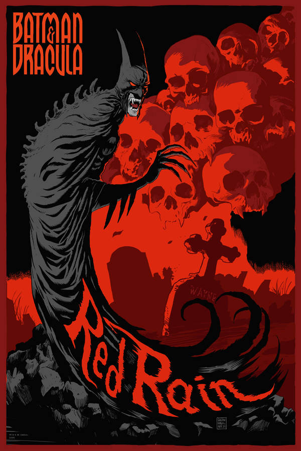 "Red Rain by Francesco Francavilla. 24""x36"" screen print. Hand Numbered. Edition of 225. Printed by D&L Screenprinting. $50"